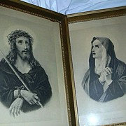 Rare Prints Jesus Ecce Home Mary Mater Dolorosa Framed Catholic Christianity Art Crosia