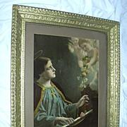 St Cecelia Old Print Piano & Angels Framed Catholic Art