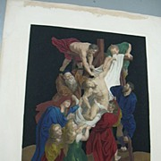 Mezzotint Hand Colored Descent From The Cross By Rubens Engraved By Leney Fine Religious Art