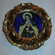 St Clare Of Assisi Hand Painted Miniature Porcelain 1931 Signed Dated Religious Art Poor Clare