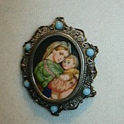 Hand Painted Miniature Painting Madonna & Child In 800 Silver Religious Art