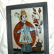 Old Reverse Painting On Glass Bavarian Religious Folk Art St Leonard, Cow