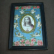 Jesus Sacred Heart Cameo Print Floral Decorations