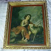 St John The Baptist & Lamb Old Print Framed