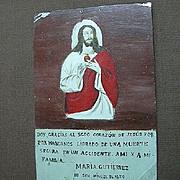 Painted Tin Retablo Jesus Sacred Heart Spanish Religious Art