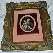 SALE Madonna & Child Art Painting On Porcelain Ornate Framed Art