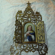 Antique Virgin Mary Icon Painting On Porcelain Altar Art