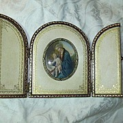 SALE Signed Hand Painted Miniature  Madonna & Child In Original Leather Case