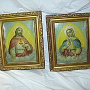 Pair Sacred & Immaculate Heart Prints Virgin Mary & Jesus