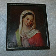 Miniature Painting Virgin Mary From Antique Book Cover