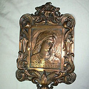 Old Ave Maria Signed French Plaque Religious Art