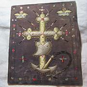 Faith Hope Charity Religious Icon Textile Stump Work Needlework Art
