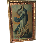 Virgin Mary Immaculate Conception Fine Print Foil Frame and Decorations