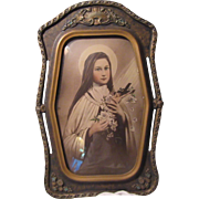 St Therese Theresa of the Little Flower Old Print Fabulous Original Frame Flower Accents Catho