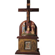 Rare Rotating Stations of the Cross Box With Crucifix and Sorrowful Statues