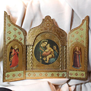 SALE PENDING Italian Florentine Triptych Virgin Mary Infant Jesus Angels Large