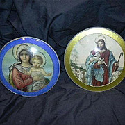 Pair Old Bubble Glass Cameo Prints Jesus Lamb And Mary With Infant Jesus