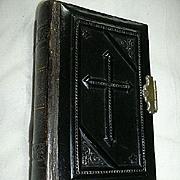 1848 French Prayer Book Petit Paroissen Celluloid Embossed Cross