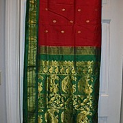Vintage Indian Sari Raspberry Red Silk & Green Fine Textiles Fabric of India
