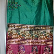 Vintage Indian Sari Teal Green Silk Fine Textiles Fabric of India