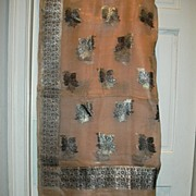 SOLD Vintage Indian Sari Peach Silk Chiffon & Silver Fine Textiles Fabric of India
