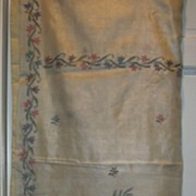 Vintage Indian Sari Cream Silk & Hand Embroidered Flowers Fine Textiles Needlework Fabric of I