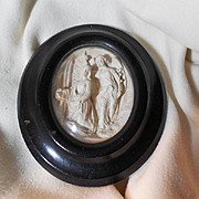 Virgin Mary Angel Annunciation Carved Pipe Clay Framed Cameo Art