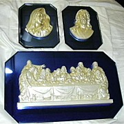 Old Virgin Mary Our Lady & Jesus & Last Supper 3 Pc Wall Plaques On Electric Blue Art Deco Sty