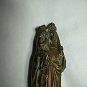 SOLD St Anne & Virgin Mary Old French Metal Statue Fine Catholic Christianity Religious Figuri
