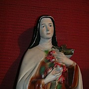 St Therese Lisieux Little Flower of Jesus Chalk Ware Statue Fine Catholic Figurine of Beloved