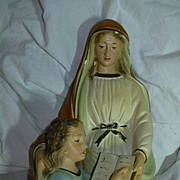 Large St Anne & Virgin Mary Chalk Statue Catholic Christianity Figurine Beloved Saint