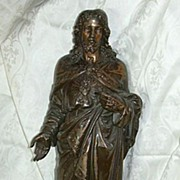 SALE 1880's French Metal Jesus Sacred Heart Sacre Coeur Statue Fine Religious Figurine