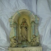 Old Chalk Plaster Sacred Heart of Jesus Shrine With Altar Angels