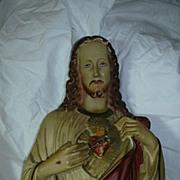 Old Large  Jesus Sacred Heart Statue