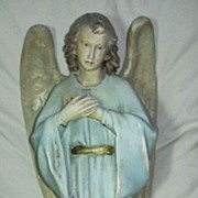 Old French Chalk Angel Statue Glass Eyes