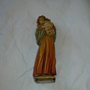 Italy Wood Statue Virgin Mary & Infant Jesus Figurine