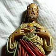 Jesus Sacred Heart Statue Old Chalk Ware or Plaster Fine Christian Catholic Figurine
