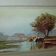 SALE Original Watercolor  Miniature Painting  Emma Johnson Farm Scene With Cows Fine American