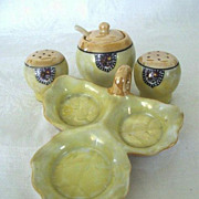 SALE Japanese Luster  Ware Condiment Set with Elephant  Mark