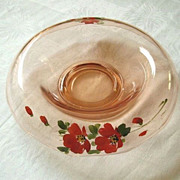 SALE Hand Painted Red Flowers On Rolled Rim Console