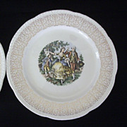 SALE Pair Homer Laughlin Dinner Plates Feature Colonial Couple