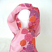 SALE Pink Neck Scarf Laden with Red & Purple Flowers