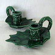 SALE Holly Candle Holders Were 1960's Ceramic Christmas Project
