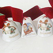 SALE Imported Tiny Christmas Ceramic Bells 1960's