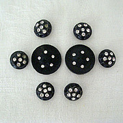 Collection Vintage Black Buttons With Rhinestones