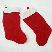 SALE Pair Familiar Christmas Stockings 1970s