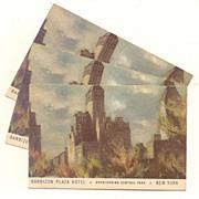 Three Postcards  Barbizon Plaza Hotel New York 1940's