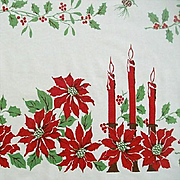 SALE Candles & Poinsettias Adorn Classic Holiday Tablecloth