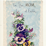 Beautiful Pansies On Mom's Easter Card 1960