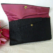 SALE Ladies Black Satin Cosmetic Bag Signed B. Dainty